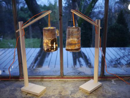 Lampes feutre/bois